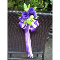 Fresh flower pews purple & green theme