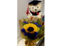 Deserving Graduate- Nice sunflower bouquet with bear