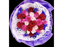 Forever Yours - 24 beautiful mix color roses with baby's breath