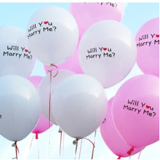 """Proposal- 6 mix of white & pink 10 inch latex """"will you marry me"""" balloon with helium"""