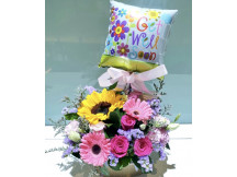 Have a Speedy recovery fresh floral with a get well soon balloon
