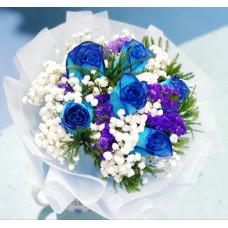 Love never fails- 6 blue roses bouquet
