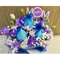 3 beautiful blue roses with seasonal side flowers specially  for Mum