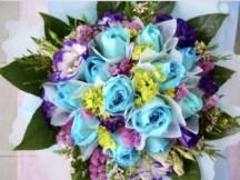 9 Beautiful Blue Roses Bouquet