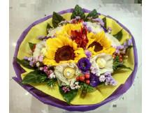 Trendy 3 Sunflower bouquet with 3 rocheo