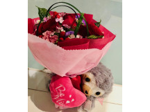 Rare sloth plush with Lovely 3 red roses bouquet