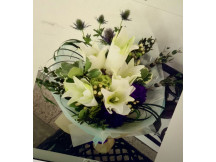 Only you- lovely 5 white lilies with seasonal flowers