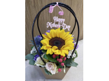 Lovely stylish sunflower bouquet with seasonal flowers specifically curated for Mum