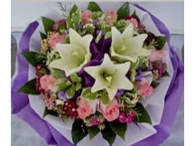 3 Stylish Lilies Wrap with 9 Pink Roses