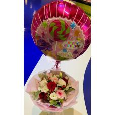 Lovely mix Color roses with random pick happy birthday helium balloon