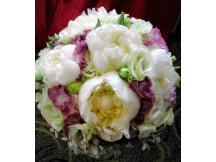 Gorgeously arranged 5 white Peonies Bridal Bouquet