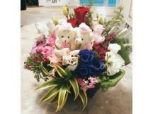 Wedding Bears (random) with mix Fresh flowers arrangement