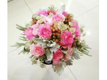 Beautiful seasonal flowers with nine pink roses Bridal Bouquet