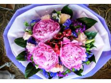 Vibrancy - - 3 lovely Peonies with exotic fillers( peonies are seasonal flowers)