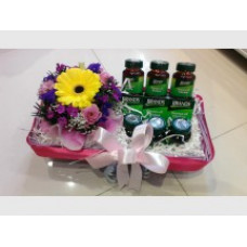 Bundle of Fresh Flowers with 3 bottles of chicken of essence