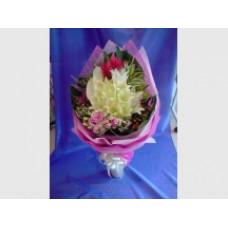 9 Grandeur White Lilies with seasonal flowers Beautifully Wrap