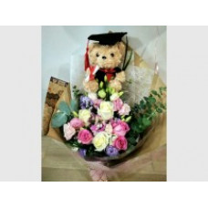 Hooray -you have done it -half a dozen mix roses bouquet with a random graduate bear