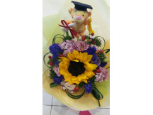 All smiles -lovely sunflower bouquet with mini graduation tigger