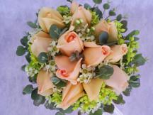 One Dozen Champagne Roses Bridal Bouquet