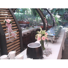 Outdoor set up in Gardens for 2 chairs, 1 solemnisation table,1  VIP table arrangement, 1 tall Buffet table floral arrangement & 6 small arrangement   for quote