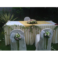 Fairy Land - Premier pink & white roses theme poisies for 2 chairs & 1 soleminisation floral table arrangement (Table, chairs & cloths excluded)